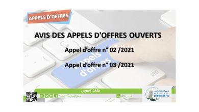 صورة AVIS DES APPELS D'OFFRES OUVERTS  Appel d'offre n° 02 /2021 -Appel d'offre n° 03 /2021